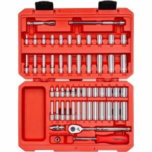La mejor opción de herramientas manuales: Juego de llaves de vaso y trinquete de 6 puntas TEKTON, 55 piezas