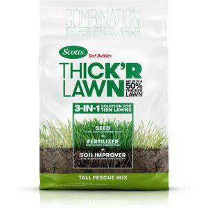 La mejor opción de semillas de hierba de festuca alta: Scotts Turf Builder Thick'R Lawn Tall Fescue Mix