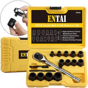 La mejor opción de extractor de tornillos: Juego de extractor de tuercas y tornillos pelados dañados ENTAI